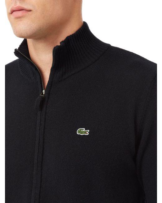 Lacoste   Black Full Zip High Collar Sweater for Men   Lyst