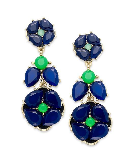 Kate Spade | New York Goldtone Blue Green Flower Statement Earrings | Lyst