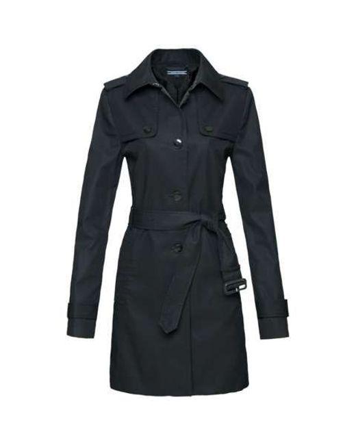tommy hilfiger heritage trench coat in black save 50 lyst. Black Bedroom Furniture Sets. Home Design Ideas