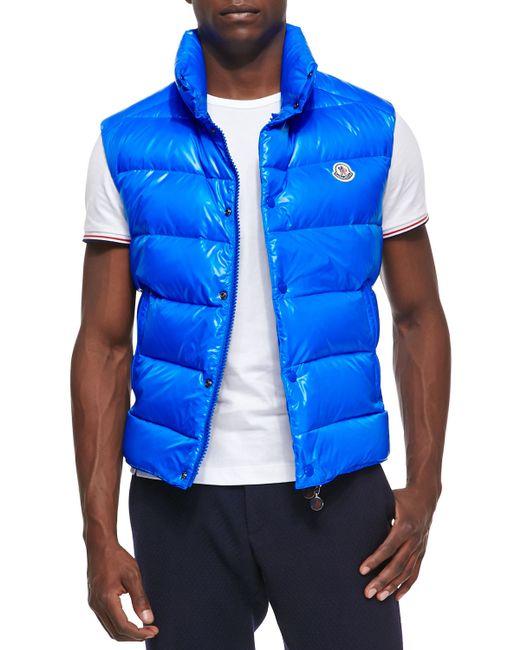 Moncler Tib Puffer Vest In Blue For Men Lyst