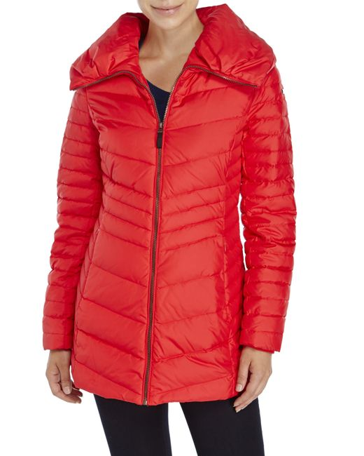 Marc New York | Red Faux Fur-Trimmed Stretch Premium Down Jacket | Lyst