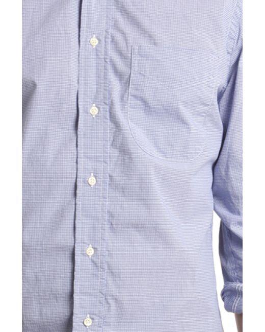Blue cream blue micro check gingham button down shirt in for Blue gingham button down shirt