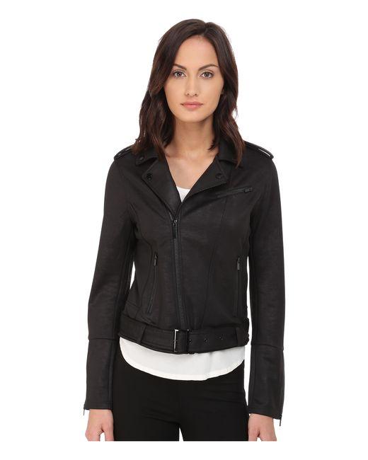 The Kooples Leather Effect Sweat In Black