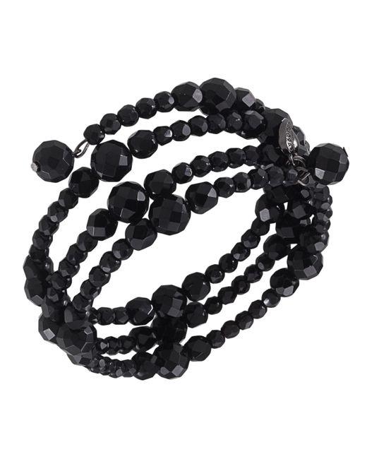 Carolee | Black Bracelet, Jet Bead Three Row Stretch | Lyst