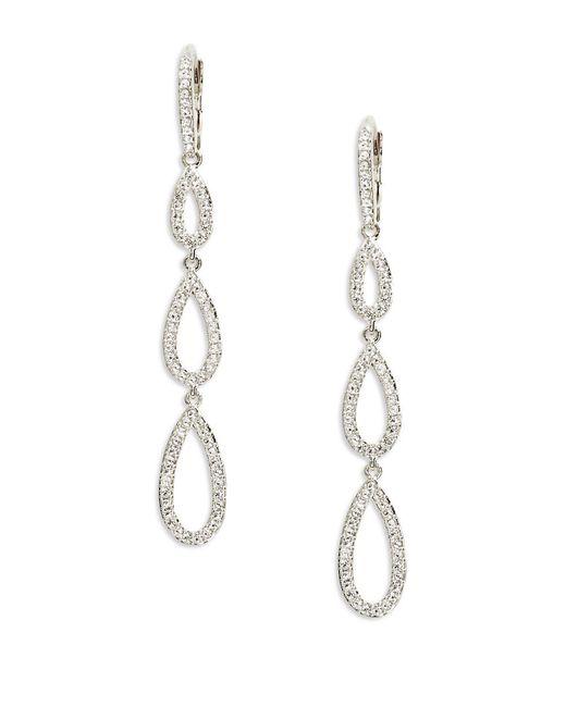 Nadri | Metallic Pave Teardrop Earrings, Silvertone | Lyst