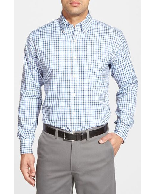 Peter Millar | Blue 'nanoluxe' Regular Fit Wrinkle Free Tattersall Twill Sport Shirt for Men | Lyst