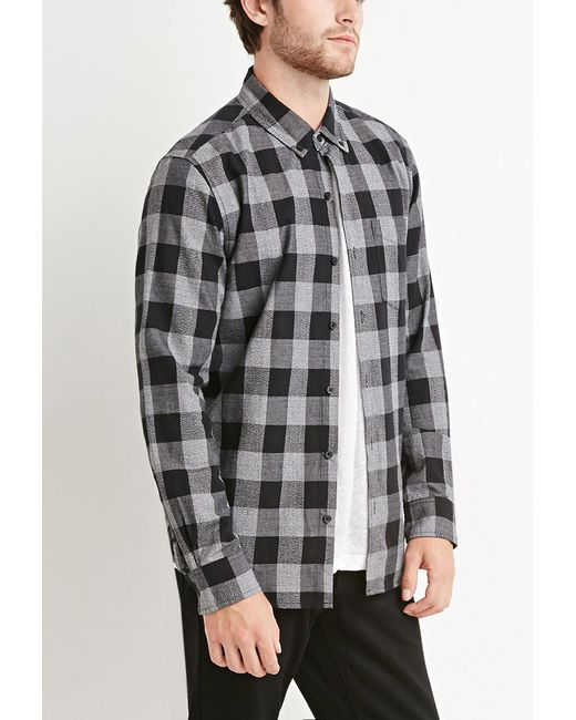 Forever 21 | Black Cotton Plaid Shirt for Men | Lyst