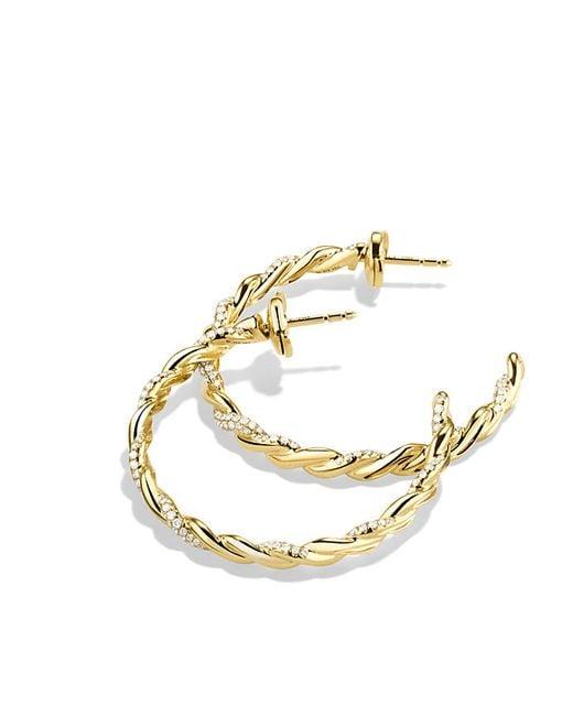 David Yurman | Metallic Wisteria Hoop Earrings With Diamonds In 18k Gold | Lyst