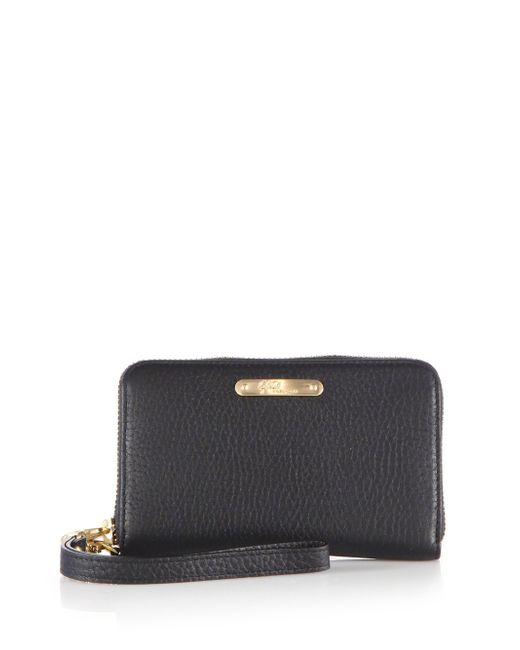 Gigi New York | Black Pebbled Leather Phone Wristlet | Lyst