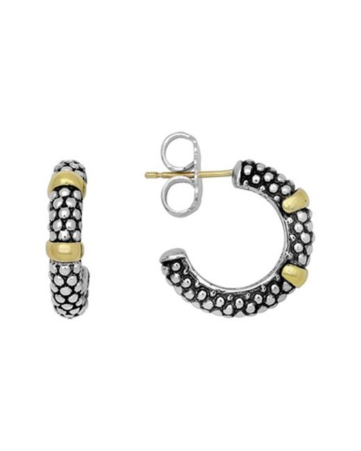 Lagos | Metallic Two Tone Caviar Hoop Earrings | Lyst