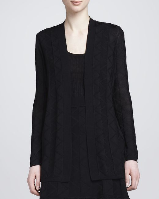 M Missoni | Black Zigzag Knit Long Cardigan | Lyst