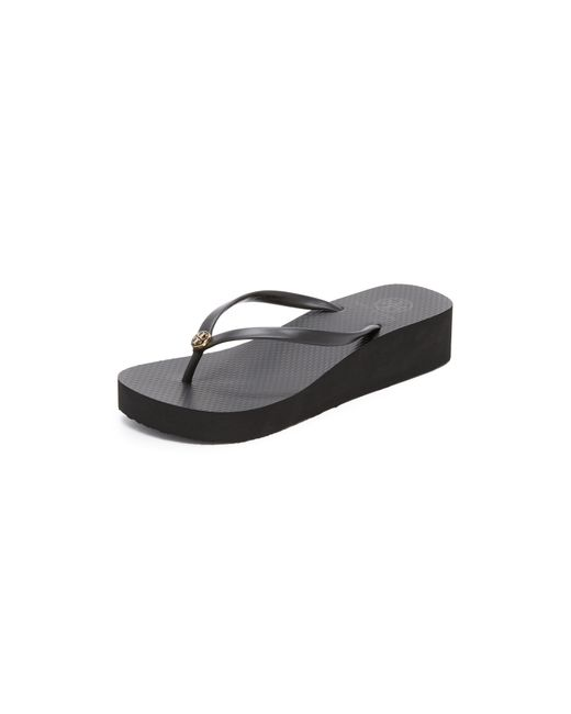 Tory Burch | Black Wedge Thin Flip Flop | Lyst
