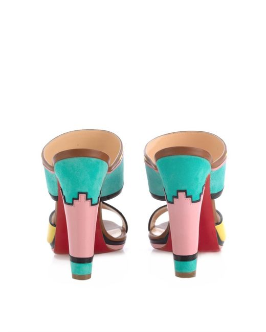 knock off christian louboutin - Christian louboutin Azunika Suede and Leather Mules in Multicolor ...