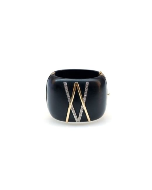 Kara Ross | Black Gold, Jet And Diamond V Cuff | Lyst