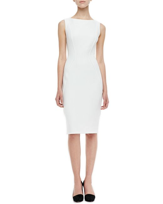 Lela Rose Sleeveless Boat Neck Sheath Dress In White