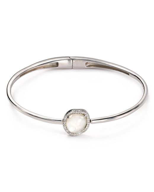 Nadri | Metallic Sterling Silver & Mother Of Pearl Hinged Bangle | Lyst