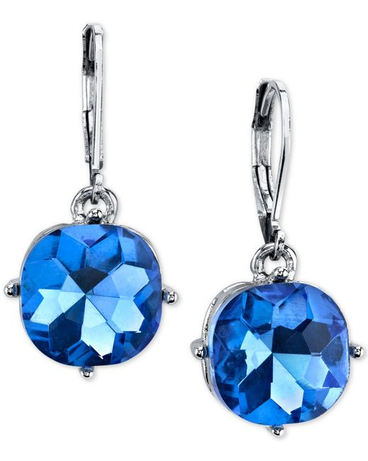 2028 | Silver-tone Blue Stone Pave Double Drop Earrings | Lyst