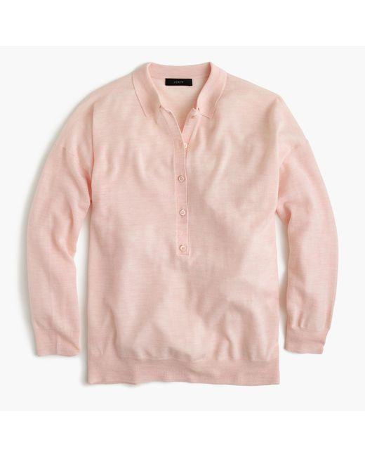 Featherweight merino wool long sleeve polo shirt in for Merino wool shirt long sleeve