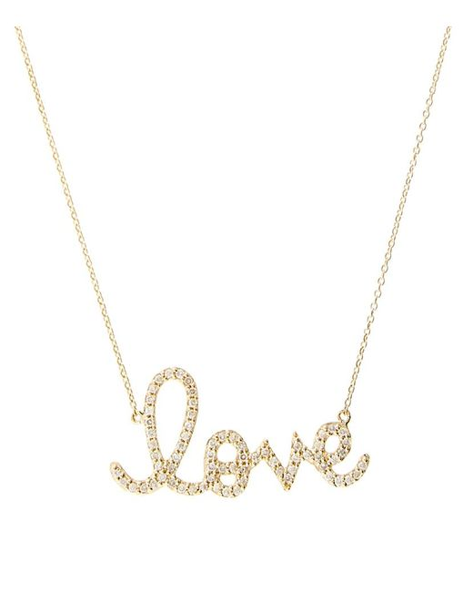 Sydney Evan | Metallic Large Love Script Necklace | Lyst