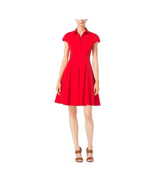 Michael Kors | Pink Cap-sleeve Cotton-poplin Dress | Lyst