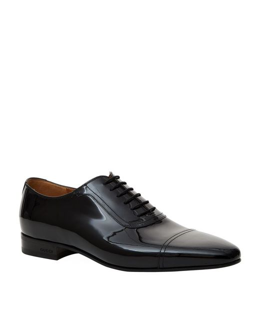 Gucci | Black Drury Patent Leather Oxfords for Men | Lyst