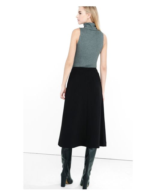 express high waisted a line midi skirt in black pitch