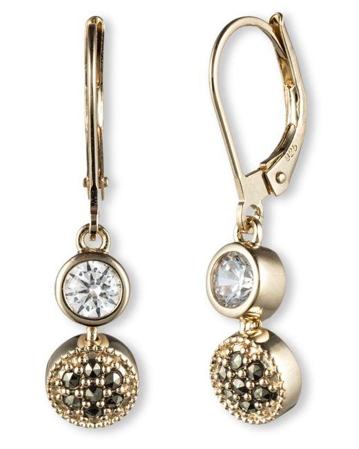 Judith Jack | Metallic Crystal And Marcasite Drop Earrings | Lyst
