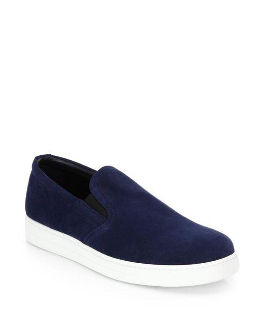 Prada | Blue Suede Slip-on Sneakers for Men | Lyst