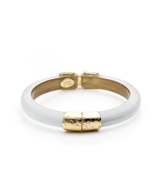 Alexis Bittar | Metallic Small Gold Textured End Cap Hinged Bracelet You Might Also Like | Lyst