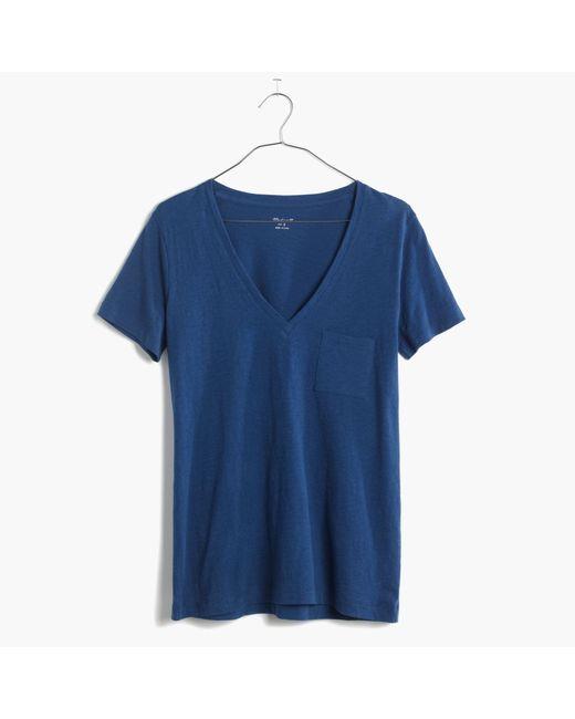 Madewell | Blue Whisper Cotton V-neck Pocket Tee | Lyst