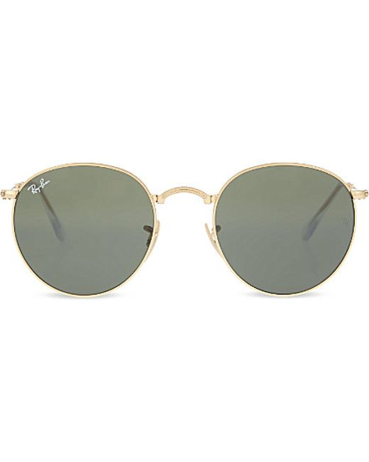 Ray-ban Rb3532 Fold-up Gold-toned Round Sunglasses in ...
