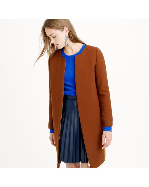 J.Crew | Brown Double-cloth Collarless Coat | Lyst