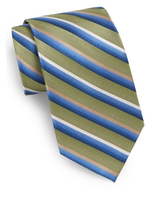 Burma Bibas | Green Striped Silk Tie for Men | Lyst