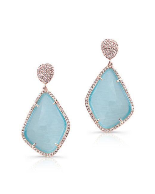 Anne Sisteron | 14kt Rose Gold Blue Satoya Diamond Earrings | Lyst