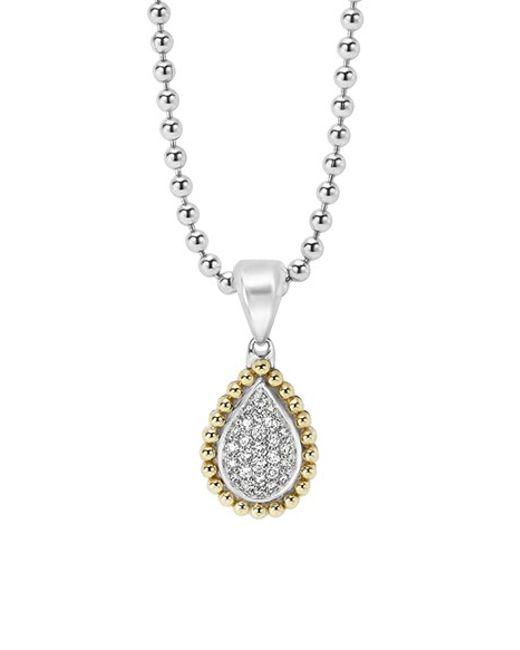 Lagos | Metallic 18k Gold Caviar & Pavé Diamond Teardrop Necklace | Lyst
