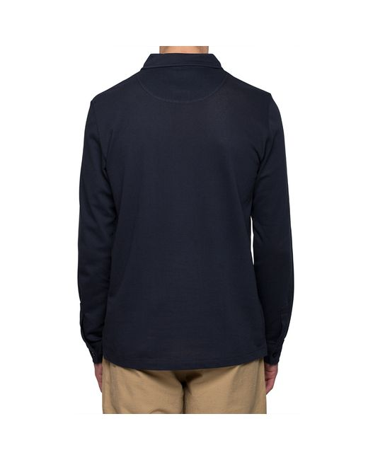 Sunspel Navy Long Sleeve Riviera Polo Shirt In Blue For
