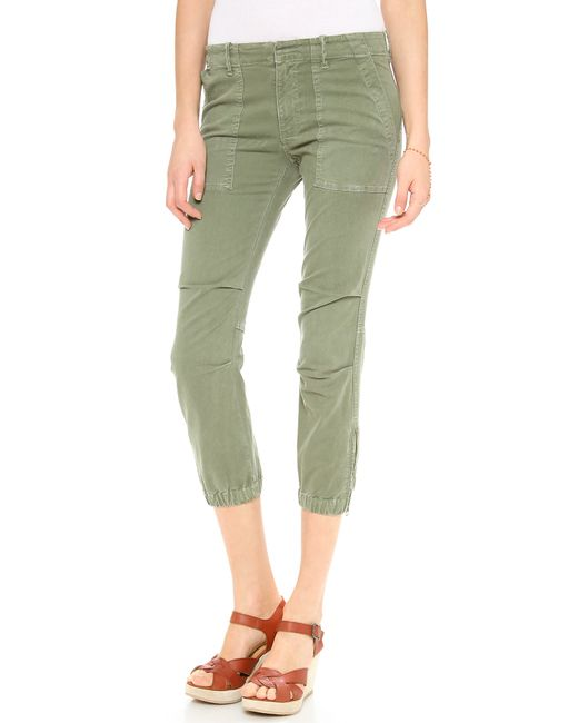 Nili Lotan | Green Cropped Military Pants | Lyst
