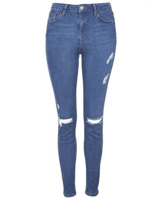Topshop Tall Moto Blue Rip Jamie Jeans In Blue (MID STONE) | Lyst