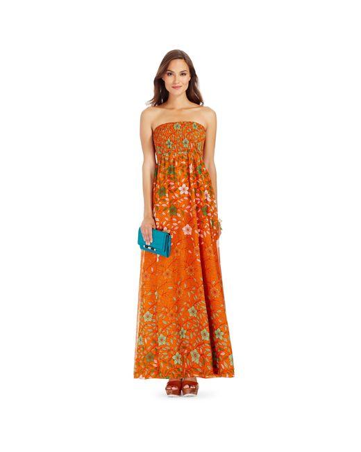 Diane von Furstenberg | Orange Dvf Hannah Strapless Chiffon Maxi Dress | Lyst