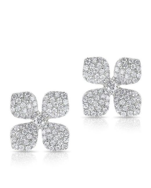 Anne Sisteron - Multicolor 14kt White Gold Diamond Gardenia Flower Stud Earrings - Lyst