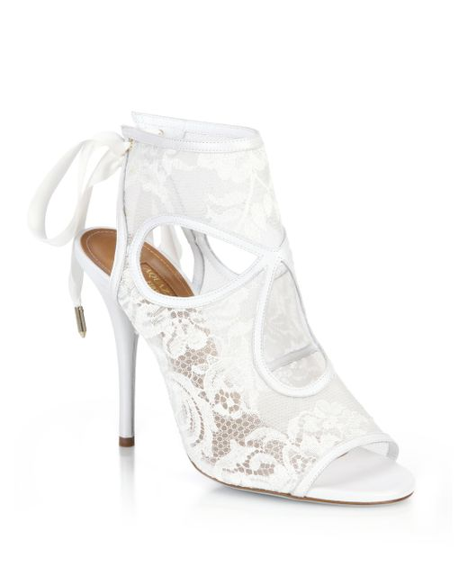 Bridal Shoes Saks: Aquazzura Sexy Thing Bridal Lace Mesh Booties In White
