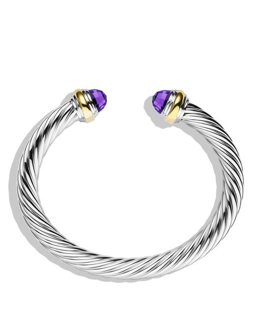 David Yurman | Metallic Cable Classics Bracelet With Amethyst And Gold | Lyst