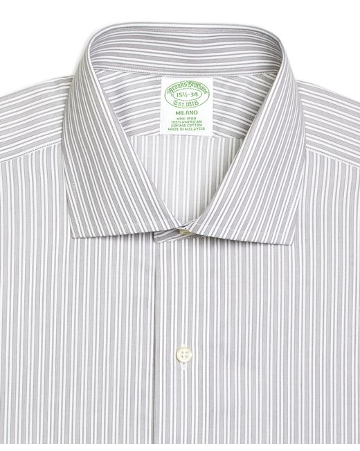 Brooks Brothers | Gray Non-iron Milano Fit Stripe Dress Shirt for Men | Lyst