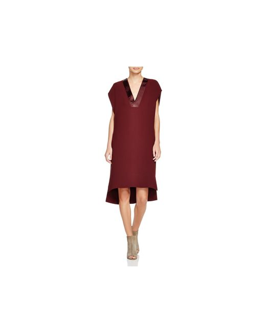 VINCE | Red Satin Trimmed Cocoon Dress | Lyst
