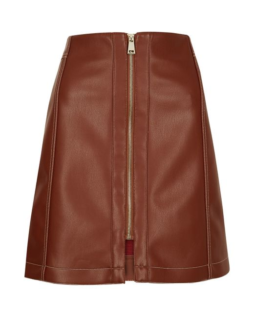 river island rust brown leather look skirt in brown lyst