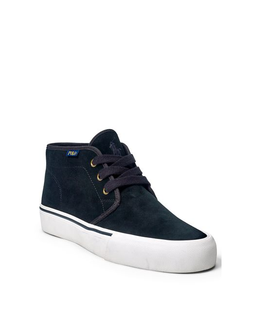 polo ralph maykn suede sneaker in black for