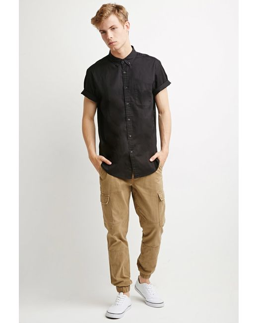 Forever 21 | Black Button-collar Shirt for Men | Lyst