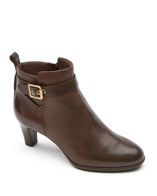 rockport melora leather ankle boots in multicolor brown