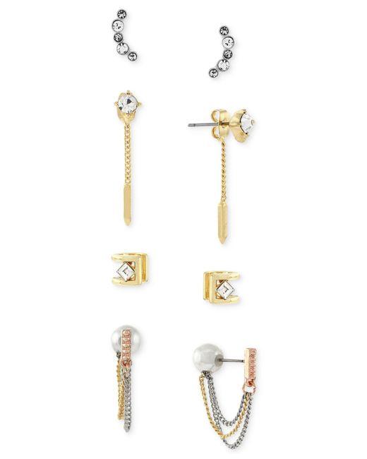 BCBGeneration | Metallic Tri-tone Imitation Pearl And Stone Earring Set | Lyst