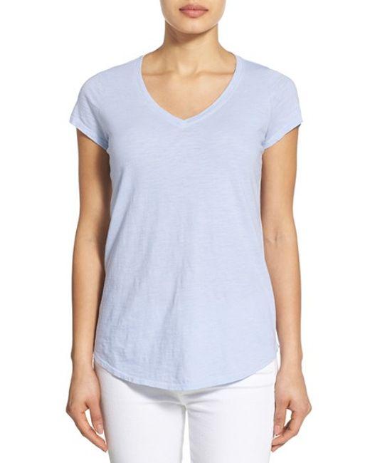 Eileen fisher organic cotton v neck short sleeve tee in for Eileen fisher organic cotton t shirt
